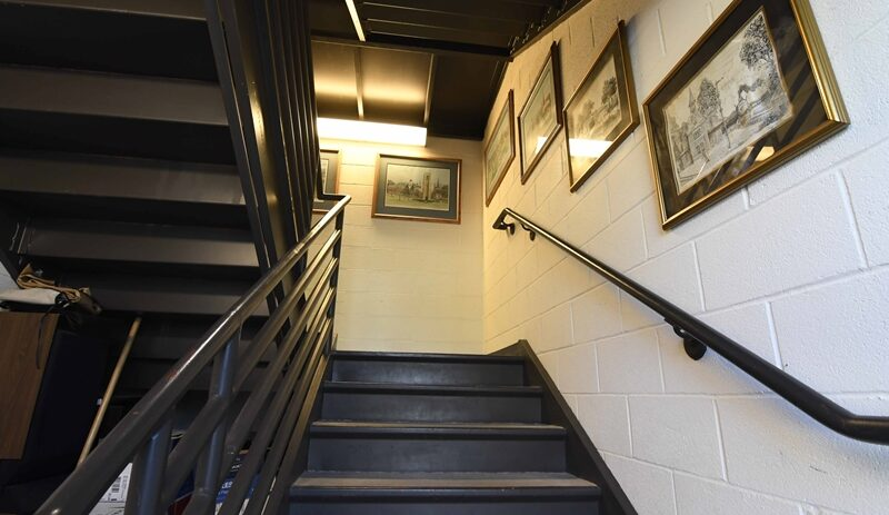 Library front staircase entrance image
